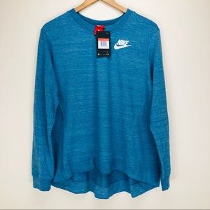 NEW Nike Gym Gym CLC Crew Hi Low Blue Athletic Top